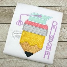 Pencil Grad Applique - 4 Sizes! | What's New | Machine Embroidery Designs | SWAKembroidery.com Beau Mitchell Boutique