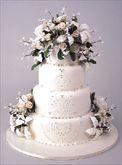 wedding cake had white wedding doves on top