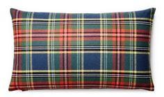 Tartan 12x20 Cotton Pillow, Red/Navy