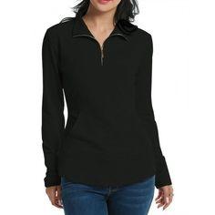 Womens Long Sleeve Solid Slim Half Zip Pocket Casual Blouse Tops