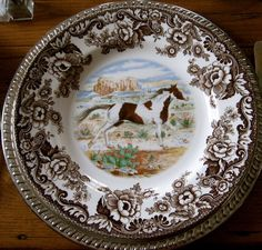 Spode Woodland china showing Paint Horse.  Many other horse and animals scenes available.