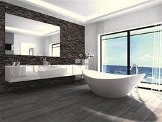 Rustikal und edel – eine Duschrückwand mit Verblender-Optik.