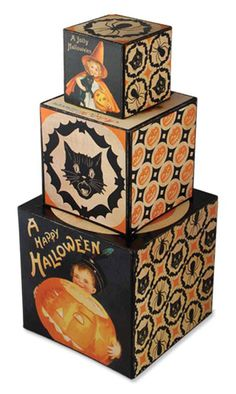 Halloween Kaleidoscope Nesting Blocks- Bethany Lowe from Classy Halloween Fairy Halloween Costumes, Retro Halloween, Easy Halloween, Halloween Cards, Holidays Halloween, Halloween Stuff, Halloween Labels, Halloween Displays, Halloween Witches