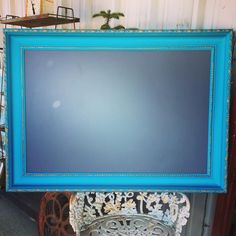 Chalkboard frame painted in Pure Earth Paint Azure www.lovefifty50.com