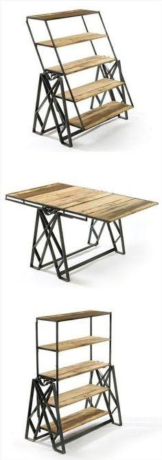 Estantería de madera y metal que se convierte en una mesa. Una idea original y muy práctica. http://lacasadepinturas.com: Google+