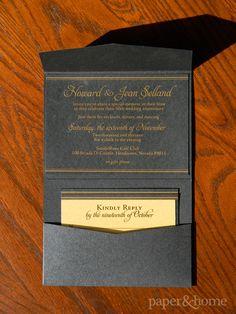 Golden Anniversary Invitations Las Vegas: Jean & Howard. Golden Anniversary Pocket Invitation with Gold Foil on Black Shimmer Paper.