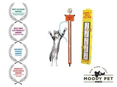 """This action-packed battery-operated barrel of laughs hangs on any standard door knob. One end of a long, brightly-colored, silky cord is sewn onto a flat, elastic """"conveyer belt"""" which is constantly rotating. The cord flings in and out for kitty's non-stop amusement. Cats can bite, paw, claw, and ultimately stop the string. As soon as they let go, the string automatically starts to rotate again and again and again! The toy has 2 speeds for the frisky or faint feline. If cats had money…"""