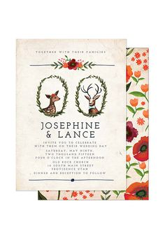 A wintry wedding invitation with deer and flowers | Brides.com