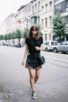 POLIENNE | wearing a RIVER ISLAND skirt, H&M tee, COACH bag, KOMONO sunglasses & CONVERSE sneakers