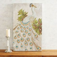 Carved White Peacock Wall Decor - Ente And Gans Peacock Wall Decor, Peacock Nail Art, Peacock Painting, White Peacock, Buddha Wall Art, Mosaic Pieces, Easy Arts And Crafts, Inspirational Wall Art, Mural Art