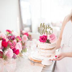 Miss to Mrs Floral Bridal Shower Cake Topper - Modern Summer Wedding Cakes, Floral Wedding Cakes, Floral Cake, Purple Wedding, Gold Wedding, Wedding Decor, Wedding Reception, Wedding Flowers, Dream Wedding