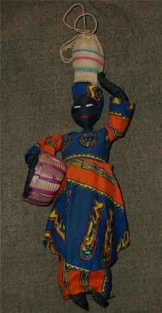 Black Ethnic African Tall Woman Doll w/a Basket Under Her Arm & Sack On Head