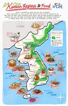 Korean regions and food from Banchan in Two Page: Korean cooking comics by Robin Video Rezept Seoul Korea Travel, Robin, Korean Language Learning, Korean Dishes, Korean Words, Learn Korean, Thinking Day, Teaching English, South Korea