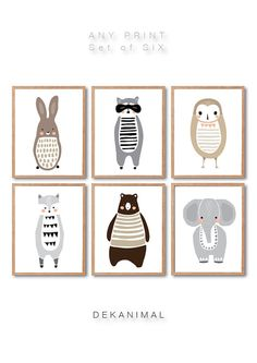 Woodland Animal Print Set of 6, Rabbit, Raccoon, Wolf, Elephant, Owl, Brown Bear, Any 6 Prints, Animal Illustration, Baby nursery Art