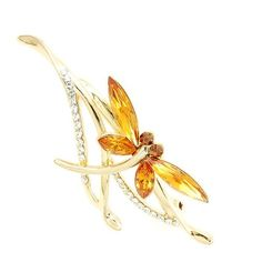 Glamorousky Dragonfly Brooch with Yellow Austrian Element Crystals (1272) * Details can be found by clicking on the image.