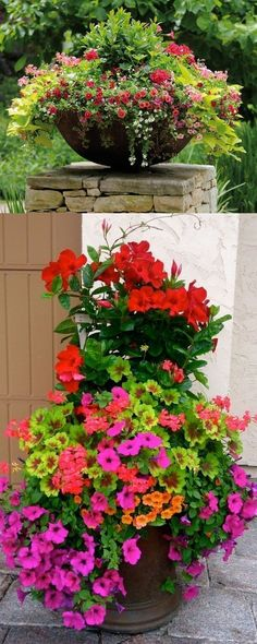Flower Garden - 24 stunning container garden designs with PLANT LIST for each! Lots of designer tips on selecting the best mix of flower plants and creating a beautiful colorful garden which blooms all season with these planting recipes! Diy Garden, Garden Care, Garden Pots, Shade Garden, Water Garden, Container Flowers, Container Plants, Container Gardening, Pot Jardin