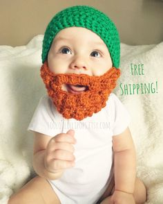 148383d327b Crochet Leprechaun Beard Hat - Free Shipping! Irish St. Patrick s Day Hat -  Green