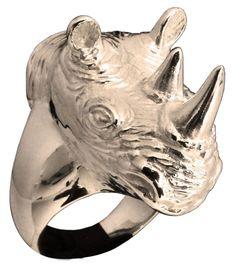 Large Sculpted Rhinoceros Ring Rhino Head Animal in Bronze