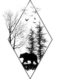Instead of a bear, I'd want a deer Source tattoo designs, tattoo, small tattoo, meaningful tatto Trendy Tattoos, New Tattoos, Body Art Tattoos, Sleeve Tattoos, Cool Tattoos, Tatoos, Tattoo Drawings, Cool Drawings, Tattoo Art
