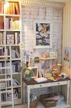 'Secret Office' miniature room box in a book