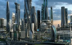 "{All the tops floors at these skyscrapers are Julie's} //Outputs ""all top skyscrapers floor's are Julie's"" Cyberpunk City, Futuristic City, Futuristic Technology, City Architecture, Futuristic Architecture, Amazing Architecture, City Landscape, Fantasy Landscape, Sci Fi City"