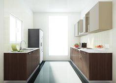 Modular Pepper Parallel Kitchen Design. Pic Source-Modspace Kitchen Cabinets Color Combination, Kitchen Cabinet Colors, Parallel Kitchen Design, Kitchen Designs Photos, Catalogue, Color Combinations, House Design, Stuffed Peppers, Design Ideas