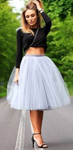 Grey Faux Tulle Skirt