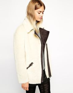 Jacket by ASOS Collection Super soft touch, faux fur fabric Point collar Contrast asymmetrical zip through fastening Zip pockets Regular fit - true to size Specialist leather clean only Polyester, Acrylic Our model wears a UK 4 White Faux Fur Jacket, Cream Jacket, Latest Fashion Clothes, Fashion Online, Best Winter Coats, Fall Coats, Models, Sweater Weather, Online Shopping Clothes
