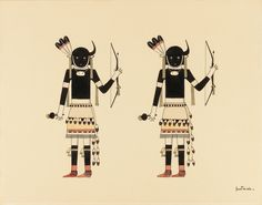 "Awa Tsireh, ""Buffalo Dancers"" (c. 1930–1940), watercolor and ink on paper. (courtesy Smithsonian American Art Museum, Corbin-Henderson Collection, gift of Alice H. Rossin)"