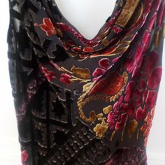 Multicolor velvet burnout top with fringe Beautiful piece! Very flirty. Scoop neck and back. Cachet Tops Blouses