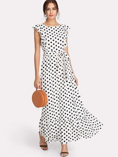 Elegant A Line Ruffle and Ruffle Hem and Knot and Zipper and Belted Polka Dot Fit and Flare Flounce Round Neck Cap Sleeve High Waist Black and White Maxi Length Ruffle Trim Polka Dot Textured Dress with Belt Tunic Tops For Leggings, Long Tunic Tops, Polka Dot Maxi Dresses, White Polka Dot Dress, Girl Fashion, Fashion Dresses, Ruffle Dress, Ruffle Trim, Pink Gowns