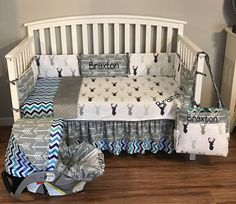 Items similar to 6 pc crib bedding nursery set made with Northern Lights stag deer fabric gray minky & arrows and chevron sheet blanket skirt bumpers diaper on Etsy Baby Boy Nursery Themes, Baby Boy Room Decor, Baby Room Design, Baby Boy Rooms, Baby Boy Nurseries, Nursery Ideas, Pink Bedroom For Girls, Baby Bedroom, Nursery Room