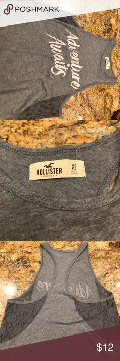 Hollister tank top High neck tank top from Hollister. Lace sides. Never worn Hollister Tops Tank Tops