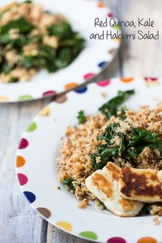 Red Quinoa, Kale, and Haloumi Salad a light, but still filling salad! www.sidewalkshoes.com