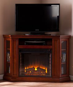 Look at this Brown Mahogany Claremont Convertible Media Electric Fireplace on #zulily today!