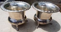 ESTATE STERLING COLUMBIA SILVER CO. FOOTED SALT CELLARS or TOOTHPICK HOLDERS 925 #ColumbiaSilver