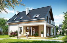 projekt Albatros 2 Country House Design, Simple House Design, Modern House Design, Home Building Design, Building A House, Style At Home, Bungalow Renovation, Duplex, Dream House Plans