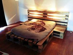 Stacked Pallet Bed with Lighted Headboard - 50+ DIY Pallet Ideas That Can Improve Your Home | Pallet Furniture - Part 2