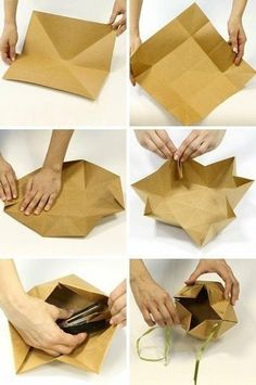 origami folds help create this package Mais Gift Packaging - art too . Isn't using a stapler cheating in origami? Interesting packages for gifts! / How beautifully wrapped gift More Pins for your board drobiazgi - Poczta Find a perfect souvenir for each t Origami Bag, Origami And Kirigami, Origami Folding, Paper Folding, Origami Paper, Diy Gift Box, Diy Gifts, Gift Boxes, Gift Tags