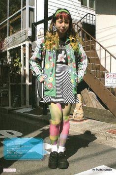FRUiTS: Hiromi, old, student & works at nadia Mode Harajuku, Harajuku Fashion, Japan Fashion, Pretty Outfits, Cool Outfits, Fashion Outfits, Grunge, Japanese Street Fashion, Alternative Outfits