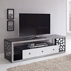 Have to have it. Walker Edison 60 in. Modern Mosaic TV Stand - Black - $599 @hayneedle.com