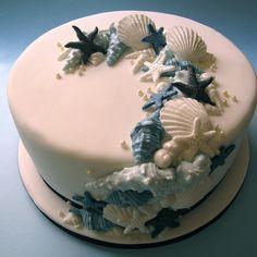 wedding cakes beach Kuchen zum Th - weddingcake Pretty Cakes, Beautiful Cakes, Amazing Cakes, Beach Themed Cakes, Beach Cakes, Beach Birthday Cakes, Ocean Cakes, Mermaid Cakes, Occasion Cakes