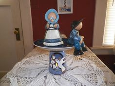 Tabletop accent. A battery tealight makes a cute added touch to this creation. I love the two figurines , finally found a place for them