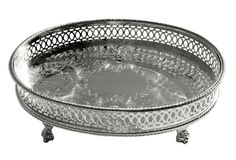 Silver-Plated Footed Sheffield Tray