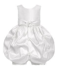Look what I found on #zulily! White Satin Bubble Dress & Bloomers - Infant by American Princess #zulilyfinds