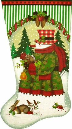 click here to view larger image of Forest Snowman Stocking (hand painted canvases)