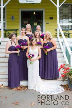 Peaks Island Wedding Maine | Fifth Maine Museum  www.PortlandPhotoCompany.com  Cool Venue on Peaks Island in Maine's Casco Bay. Just a ferry ride away from Portland, ME.   #coolvenue #weddinglights #weddingdecor #realmaineweddings #purplewedding #colorinspiration #maineweddingphotographer