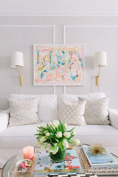 Neutral beige with pops of pastel: http://www.stylemepretty.com/living/2016/03/20/20-pin-worthy-color-stories-to-steal-for-your-home/