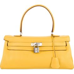 Pre-owned Herm?s Clemence JPG Kelly Bag (7,395 CAD) ❤ liked on Polyvore featuring bags, handbags, yellow, yellow leather purse, leather man bags, leather handbag purse, yellow leather handbag and yellow handbags