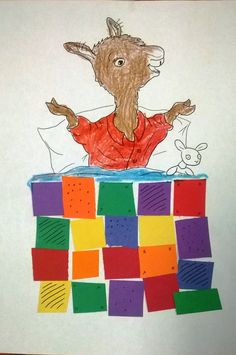 """Llama Llama Red Pajama Quilt Craft ties into the book """"Llama Llama Red Pajama."""" The kids get to color the baby Llama and then cut out construction or tissue paper to make a quilt in their very own pattern. It's such a fun book to read. Preschool Literacy, Preschool Letters, Preschool Books, Preschool Lessons, Book Activities, Preschool Activities, Kindergarten, Preschool Winter, Number Activities"""